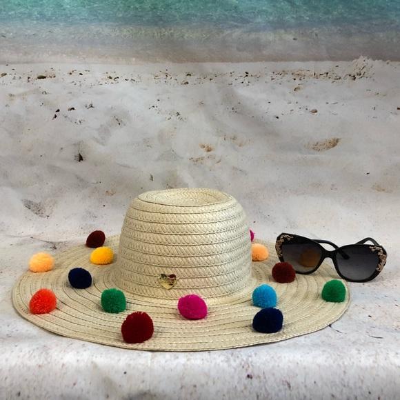 4c3e6e8e4feb5 Betsey Johnson Pompom Trim Floppy Sun Hat